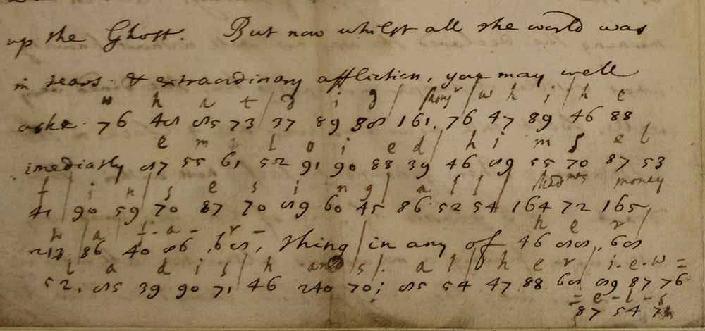 Image of an extract of a letter written in numerical cipher from William Perwich, with a translation