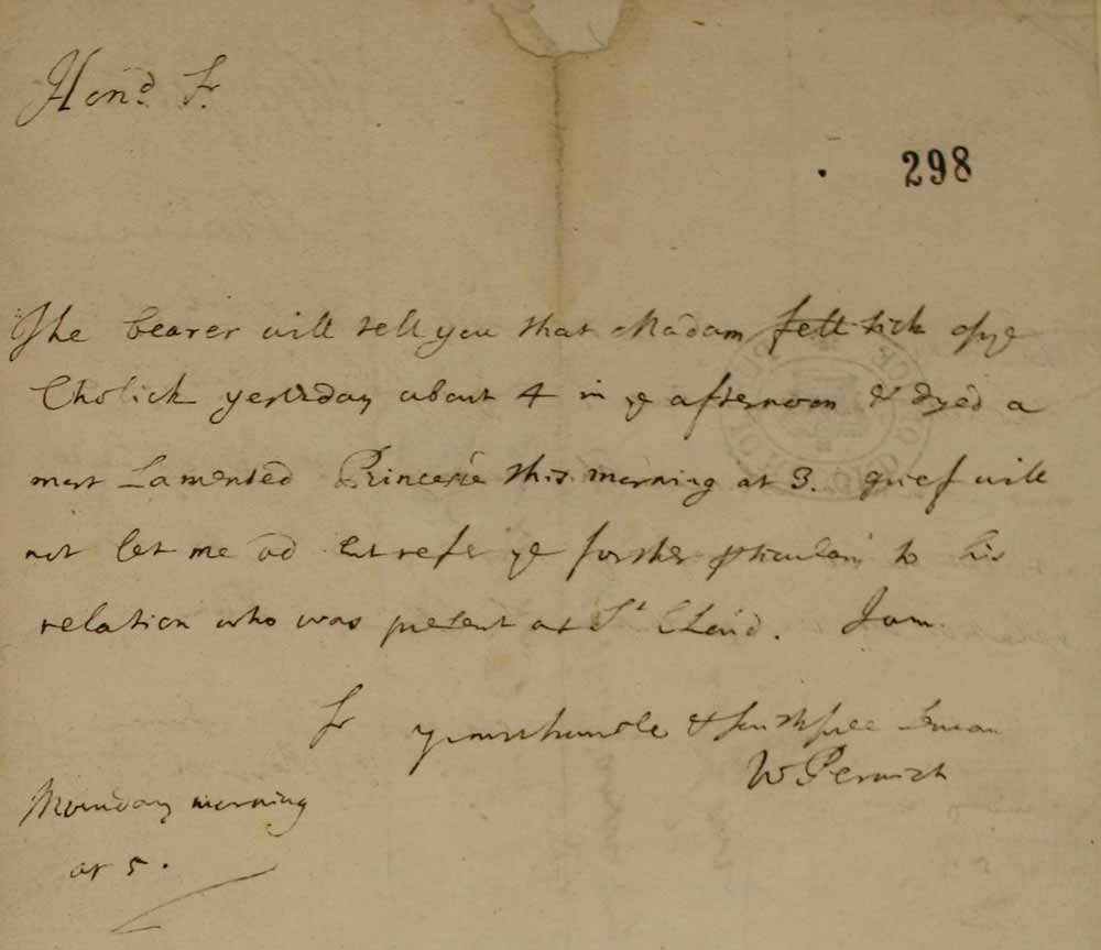 Image of handwritten letter from William Perwich announcing the death of Madame