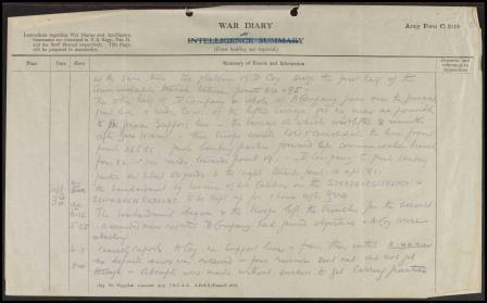 Image of page of Commanding Officer's War diary entry