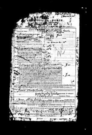 Image of part of the Army Service record (Territorial Force) of James Stanley Crossley