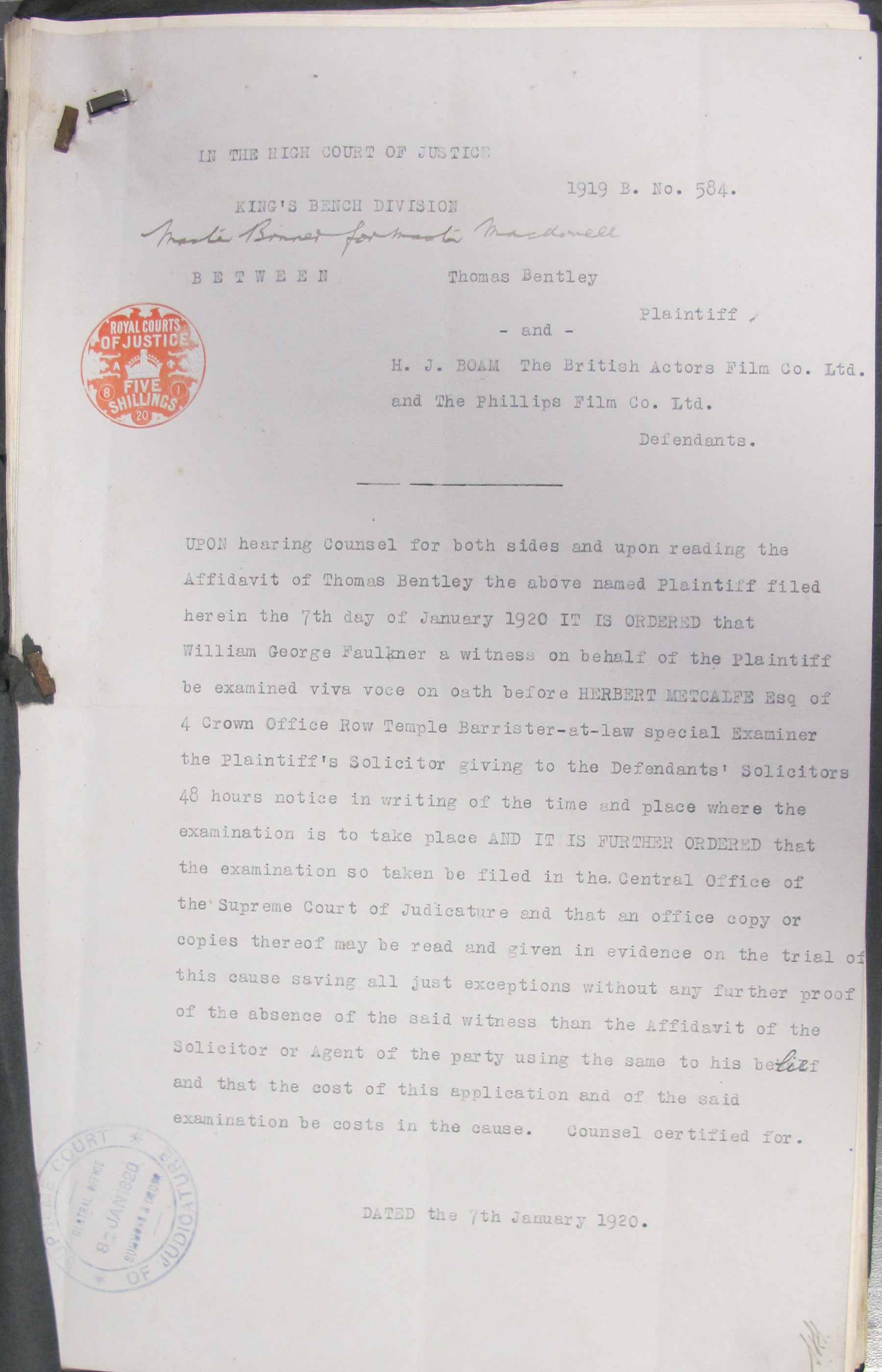 Image of a typed report of the examination of witnesses in the Thomas Bentley case