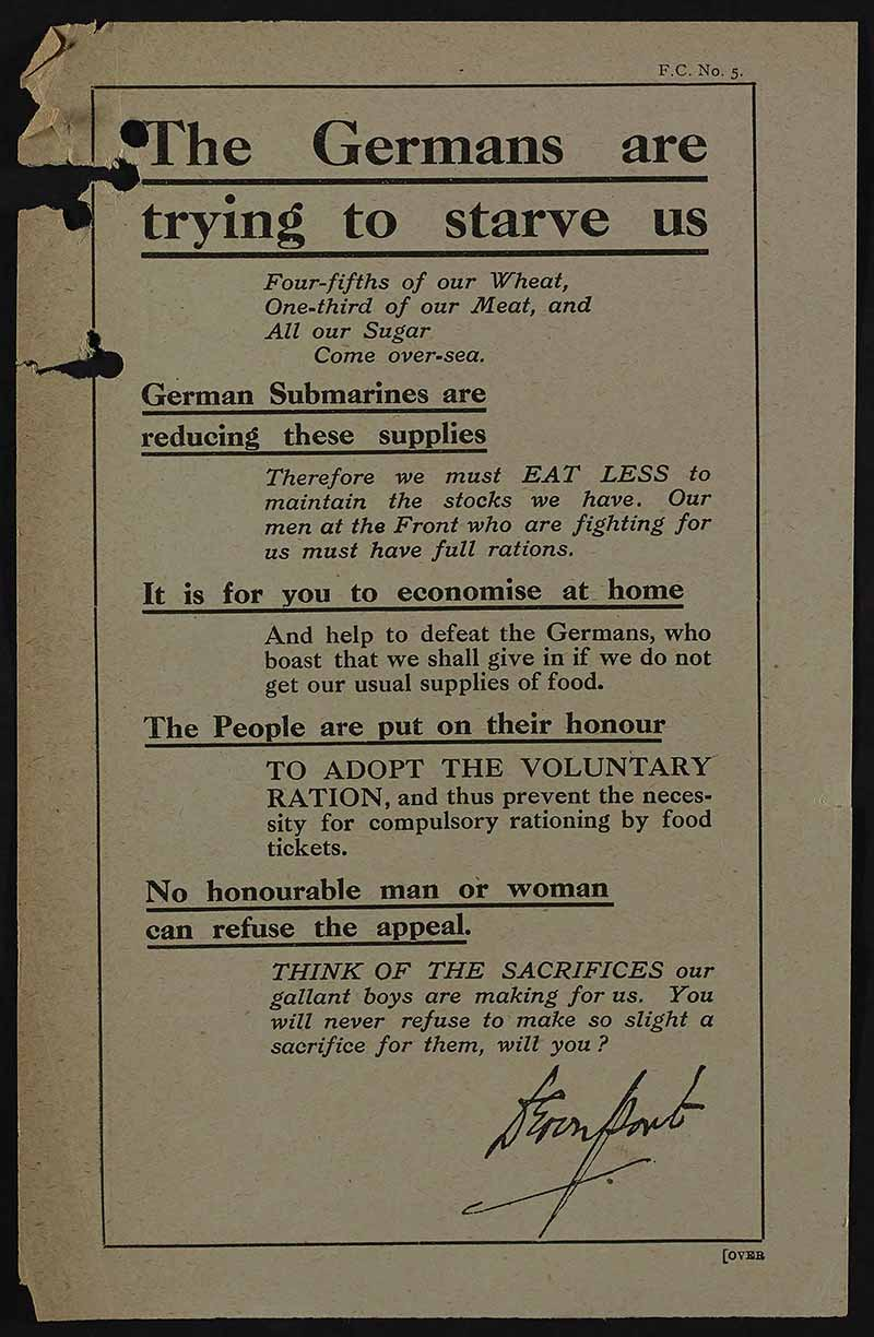 An image of a food control campaign leaflet titled 'The Germans are Trying to Starve Us'