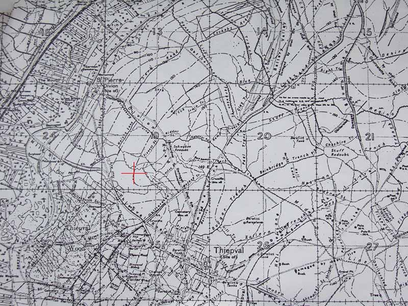 Image of a map of Thiepval Wood with a red cross showing the place Jimmy's body was found