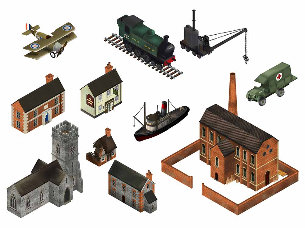 Image of buildings and objects that appear in Great Wharton, including factory, church, pub, steam engine and aeroplane
