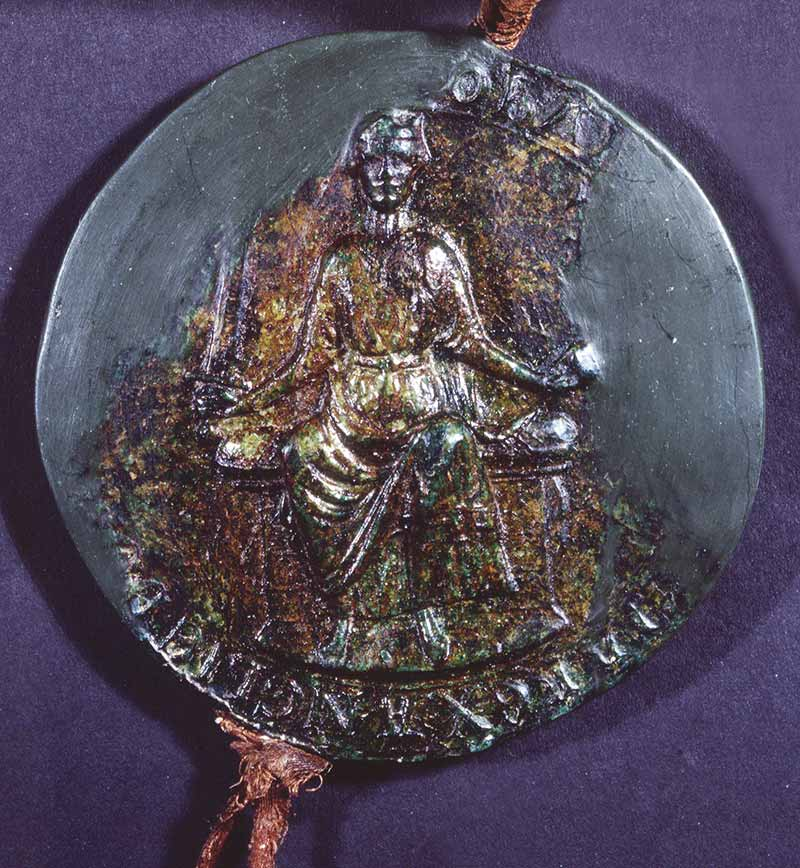 Image of the Great Seal of King John, obverse side, which shows John sitting on a throne