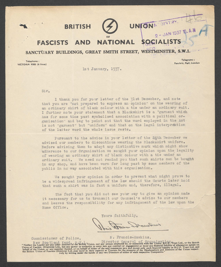 Letter from the British Union of Fascists regarding black shirts (MEPO 3/2513)