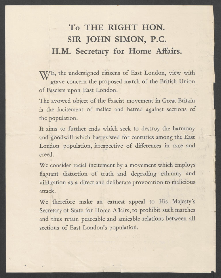 Petition to Home Secretary Sir John Simon from Jewish inhabitants of the East End. (HO 144/21060)