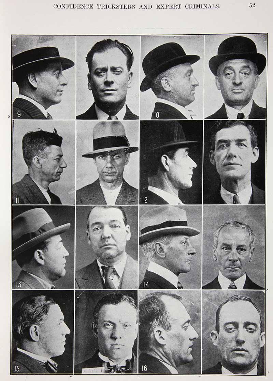 Composite image of police portrait photographs of 8 criminal men