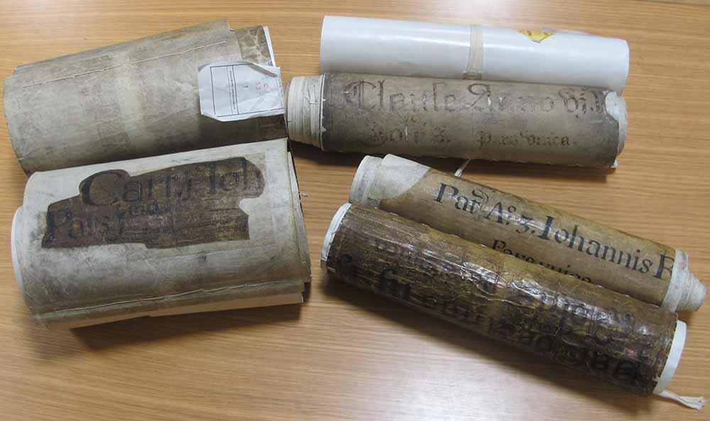 Image of three of the earliest Chancery rolls
