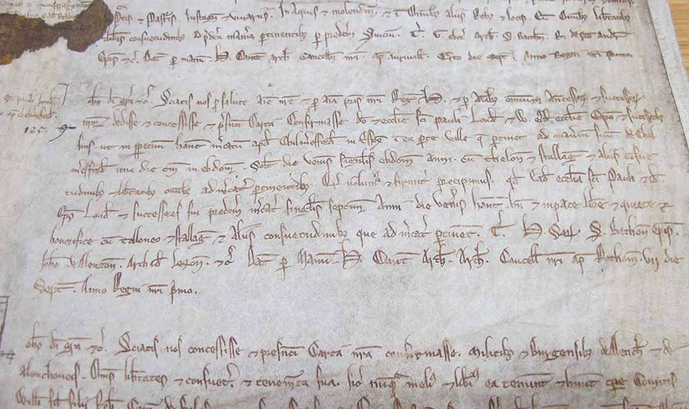 Detail of entry on the charter roll recording the grant of a market to St Paul's London