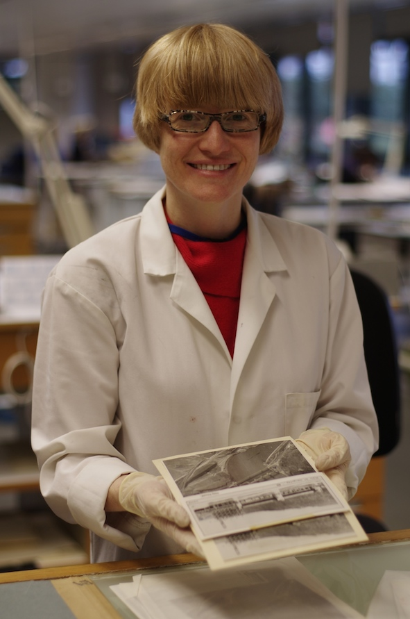 Image of author Jacqueline Moon wearing a white lab coat and comparing three photographs
