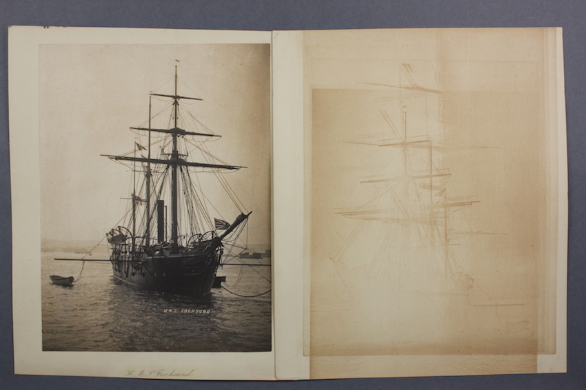 Image of a platinum print of a tall ship, with a faint 'ghost' image of the ship printed on an adjacent photograph