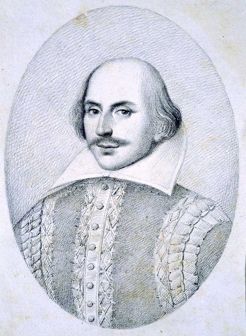 Pencil sketch image of a man in Jacobean dress