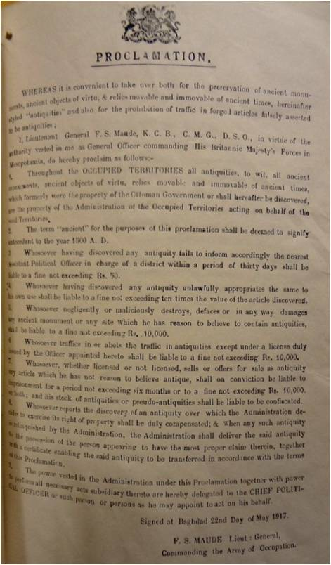 General Maude's Proclamation, 22 May 1917 (catalogue reference: FO 371/3410)