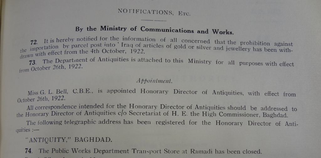 Gertrude Bell's appointment in the Official Gazette (catalogue reference: CO 813/1)