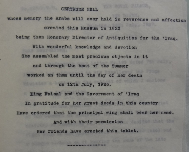 Brass plaque in the memory of Gertrude Bell (catalogue reference: CO 730/124/4)