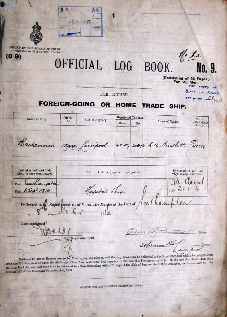 Image of the cover page of the official log book for Britannic
