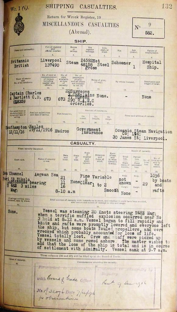 Image of the Official Board of Trade register of shipping casualties on Britannic