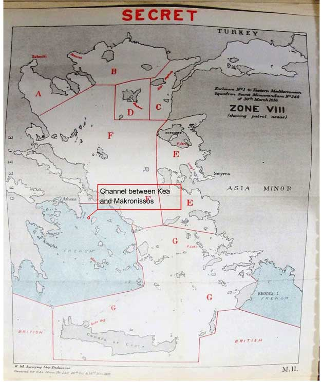 Channel between Kea and Makronissos (catalogue reference: ADM 137/1229)