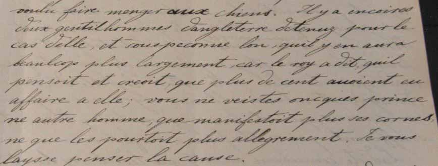 Eustace Chapuy's diplomatic correspondence detailing the extent of Anne Boleyn's alleged infidelity (catalogue reference: PRO 31/18/2/2, f. 246r)
