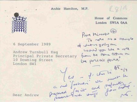 Prime Minister Margaret Thatcher comments on the acid house 'fashion' (PREM 19/2724)
