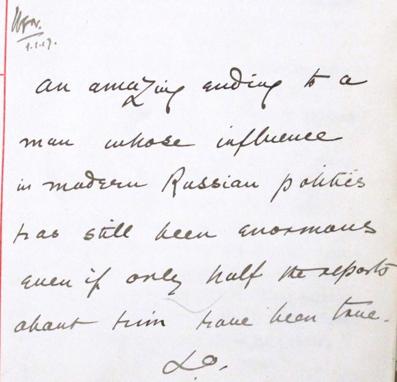 Image of a memo mentioning 'amazing ending' and 'enormous influence' of Rasputin