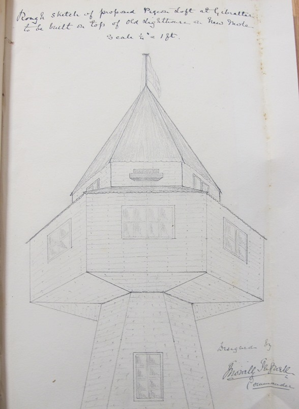 Image of a pencil drawing design of pigeon loft at Gibraltar