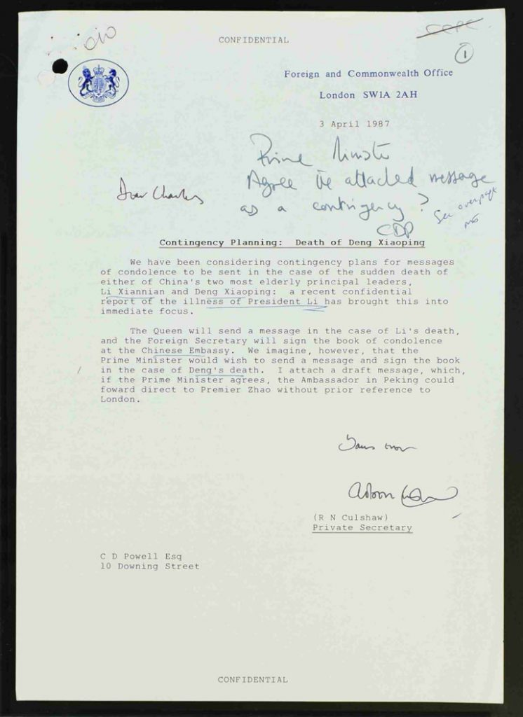 FCO contingency plan for deaths of Chinese leaders - Deng Xiaoping (PREM 19/2597)