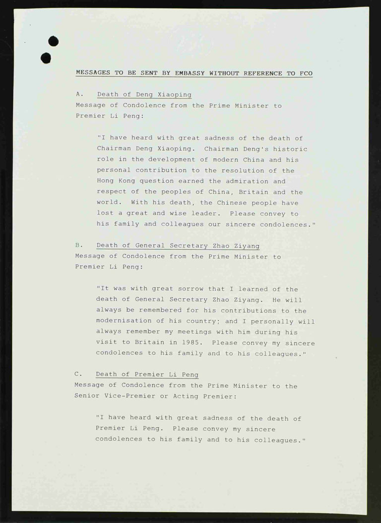 Draft messages of condolence for Chinese leaders Deng Xiaoping, Zhao Ziyang and Li Peng (PREM 19/2597)