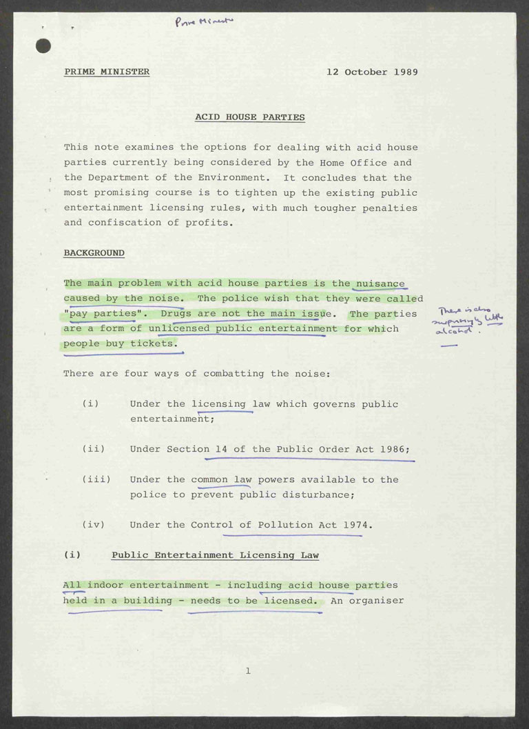 Carolyn Sinclair's note on acid house parties to the Prime Minister Margaret Thatcher: 'Drugs are not the main issue' (PREM 19/2724)