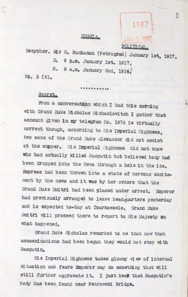 Image of account detailing where Rasputin's body was found
