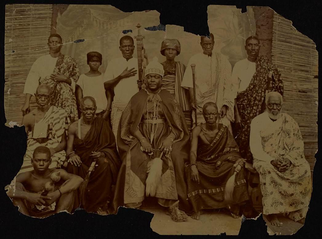 Sepia photograph of 12 members of the Adamah family