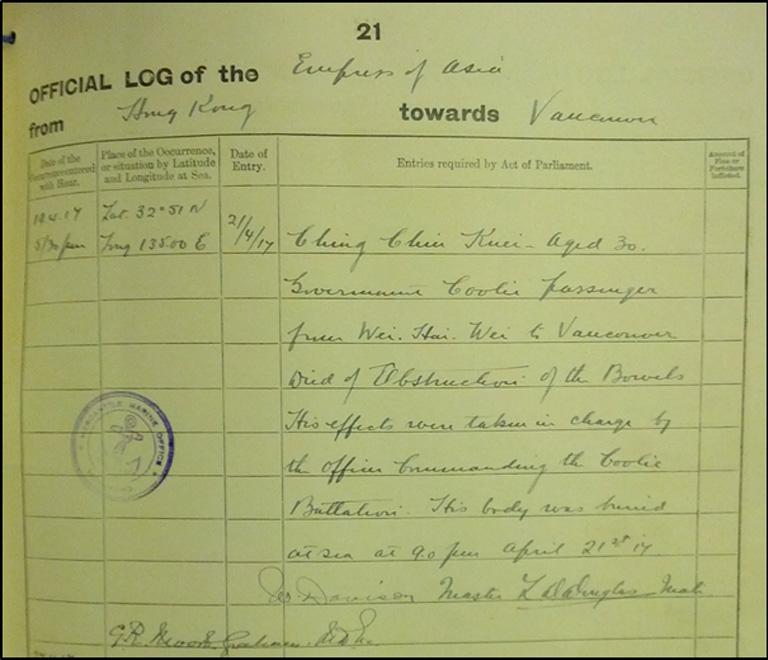 """BT 165/1725 - Ships' Official Logs """"Empress of Asia"""""""