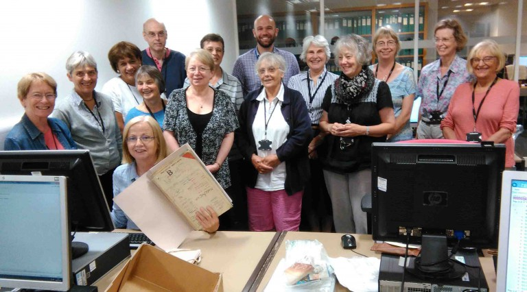 Some of our onsite cataloguing volunteers