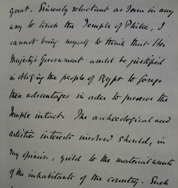 Letter from Cromer to Kimberley, stating that 'the archaeological and artistic interests involved should, in my opinion, yield to the material wants of the inhabitants of the country.'
