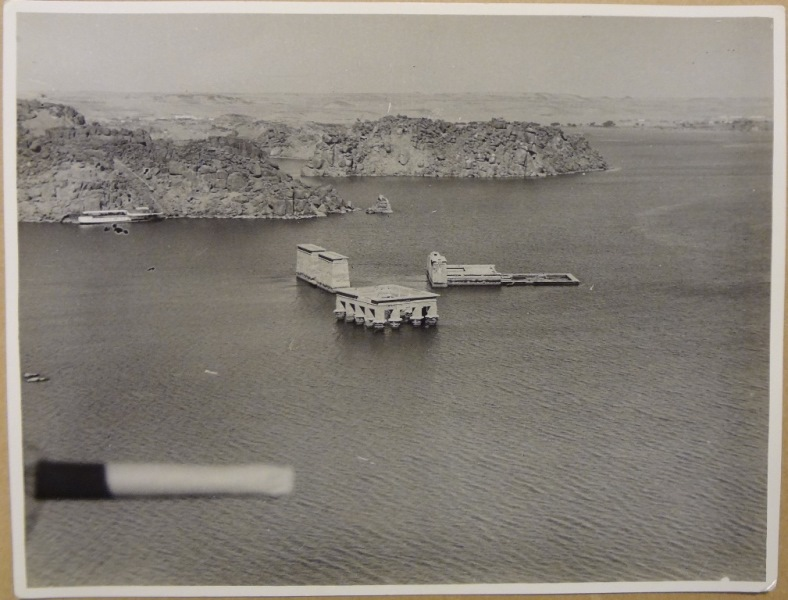 Aerial photograph showing Philae in 1934, submerged in water