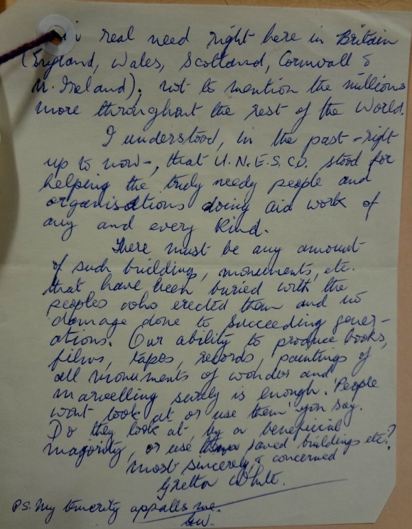 Gretta White's letter, protesting the decision to give funds from the British Museum's exhibition to the Philae campaign