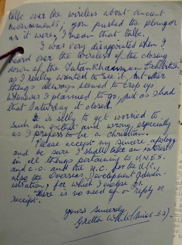 The second page of Gretta White's second letter, apologising for her first letter