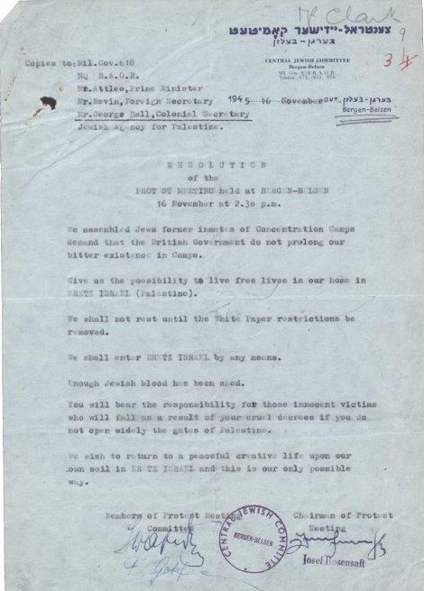Image of the typed resolution of the meeting held at Bergen-Belsen in protest against restrictions on entering Palestine