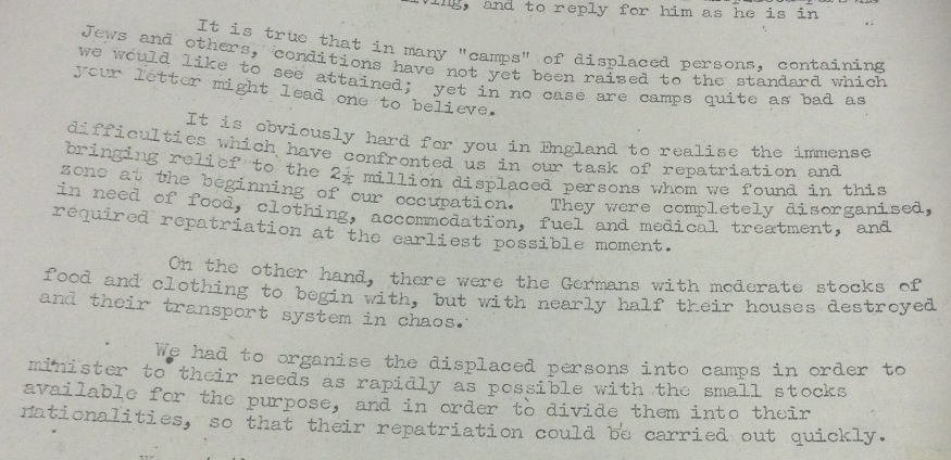 Image of a typed letter from Major General Templer to Lady Reading in response to her letter of concern about living conditions of Jewish DPs