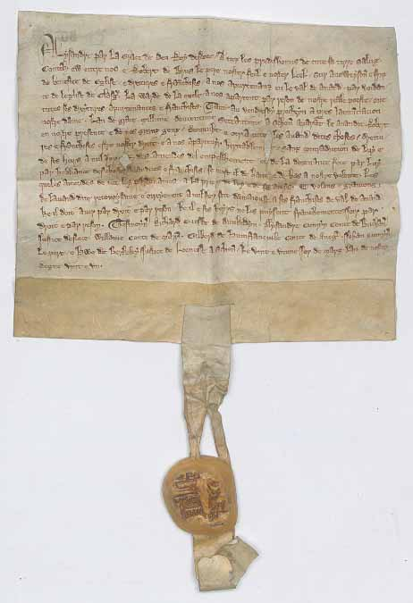 Charter with seal attached to the bottom