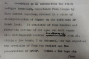 Page of typed report on the question of refugees from Czechoslovakia