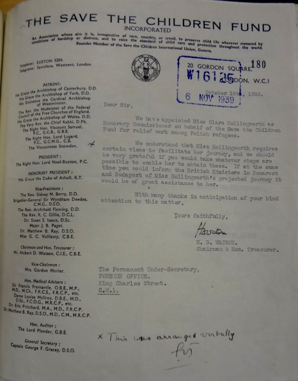 Letter from Save the Children Fund to the Foreign Office, informing them that Hollingworth had been appointed as Honorary Commissioner