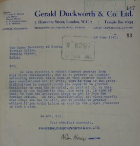 Typed letter reporting Hollingworth's request to use an Foreign Office bag