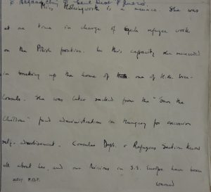 Handwritten minute showing Hooper's opinion that Miss Hollingworth is a menace.'