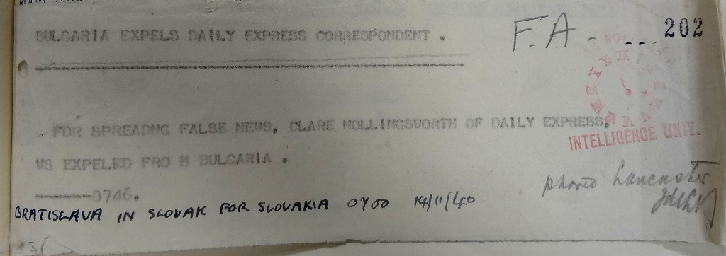 Notification of Clare Hollingworth's expulsion from Bulgaria