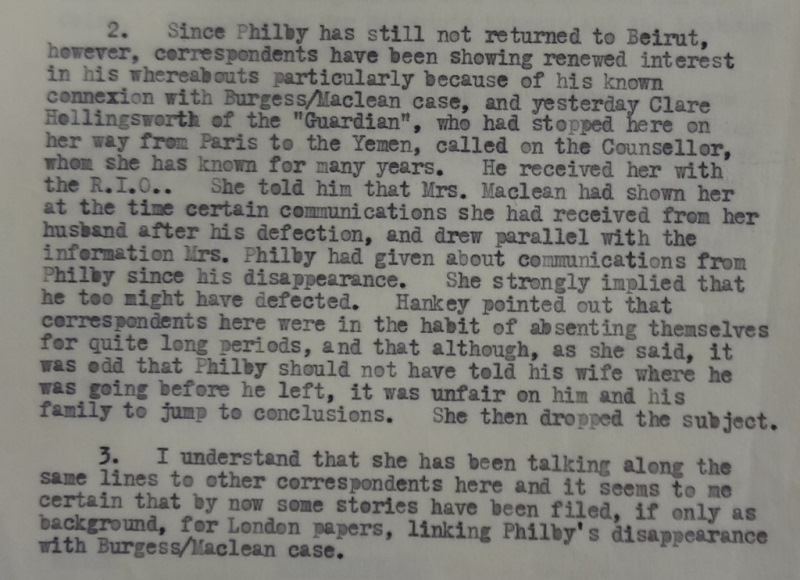 Crosthwaite's typed letter to Foreign Office, reporting that Hollingworth implied Philby had defected