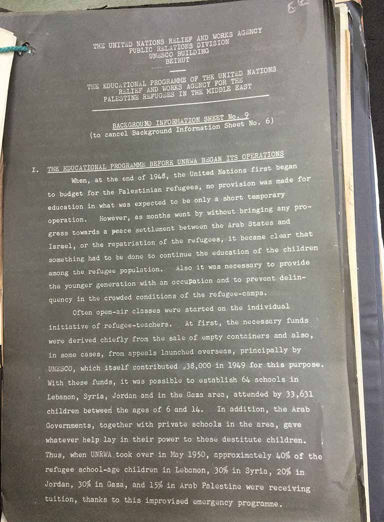 Details about the first schools for Palestinian refugees in exile eluded me in numerous international archives, but are found here. Background Information Sheet No. 9 from the UNRWA Public Relations Division, 5 June 1952 (catalogue reference: ED 157/366)