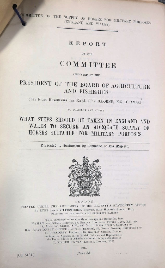 Page of the report written by Lord Selbourne's committee; a subheading reads 'What steps should be taken in England and Wales to secure an adequate supply of horses suitable for military purpose'