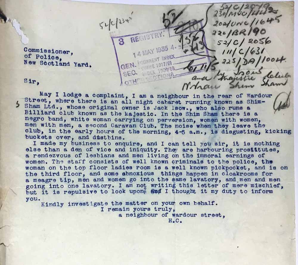 Typed letter of complaint describing the club as a 'den of vice and iniquity' and asking the police to 'investigate the matter'
